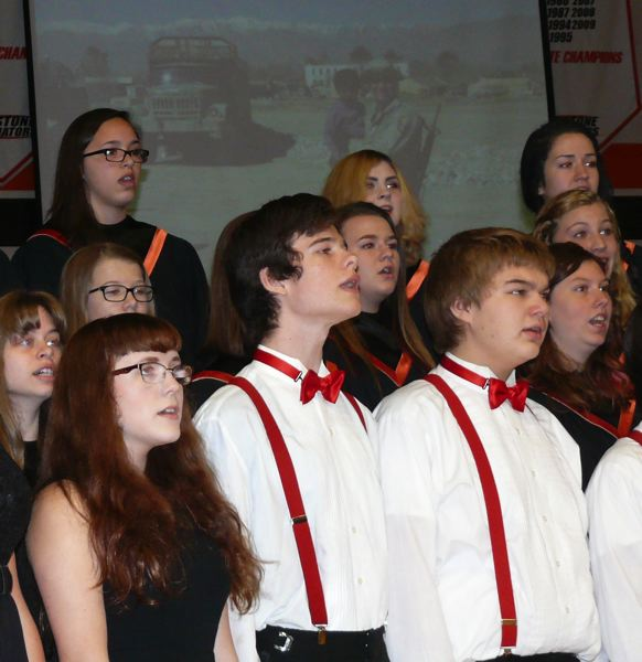 by: PHOTO COURTESY: LESLIE ROBINETTE - Gladstone High School's choir sings for veterans at an assembly on Nov. 7.
