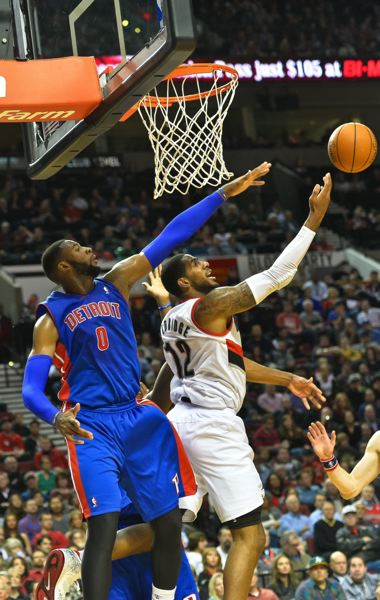by: COURTESY OF MICHAEL WORKMAN - LaMarcus Aldridge gets underneath the basket against Detroit's Andre Drummond.