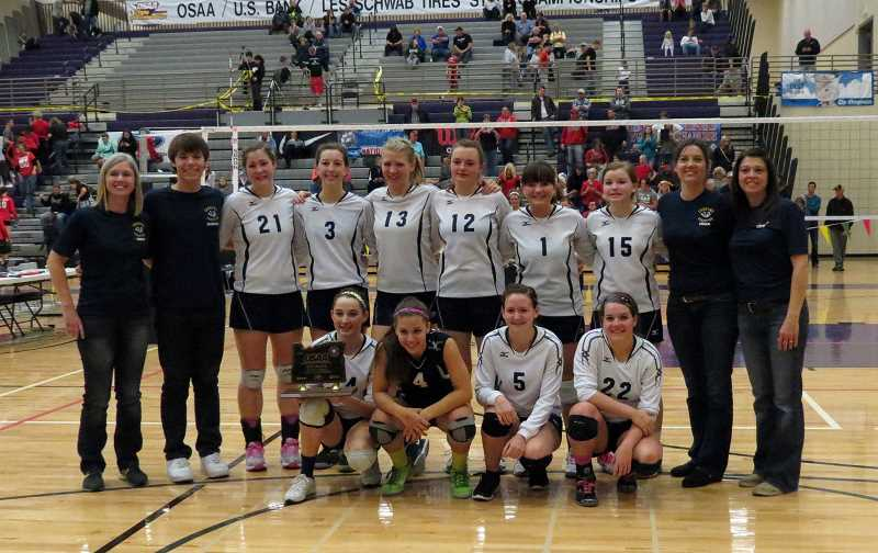 by: COURTESY OF LAURA WARRINGTON - From left to right, Coach Janin McGrath, Manager Luke Satrum, Audrey Barden, Miranda Halverson, Bryana Stueland, Taris Krutsch, Ashley LaPointe, Courtney McGrath, Coach Cara Grandle, Coach Tricia Halverson. Front: Brittnea Corless, Anicca Monaghan, Jennifer Parmelee, Kennedy Nofziger.