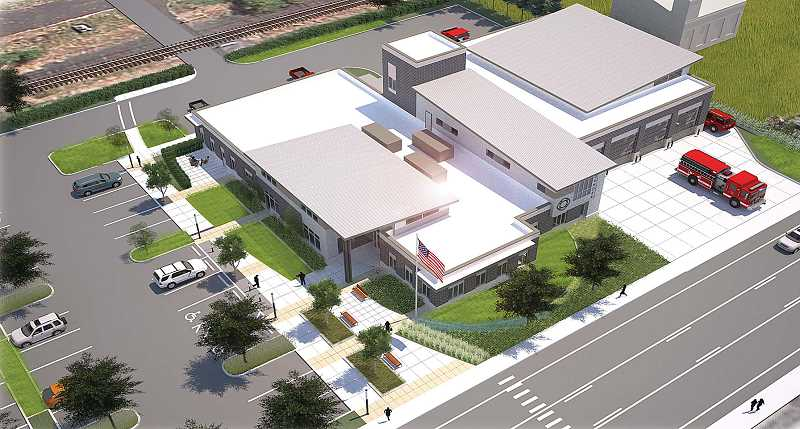 An architectural rendering shows the design of the new Dundee fire station and its proximity to Highway 99W. The station, paid for via a bond passed by Dundee voters in May 2012, is expected to be completed in April. The former station will be demolished a few weeks before the opening, making way for paving and landscaping of the new parking lot.