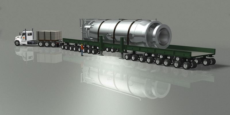 by: COURTESY OF NUSCALE ENERGY - Simulated photo shows how a truck could haul  NuScales modular nuclear reactor, which is 82 feet long with a 15-foot diameter. The modules also could be shipped via barge or rail.