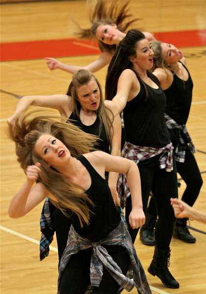 by: TIDINGS PHOTO: J. BRIAN MONIHAN - The Debs place third in the large team hip-hop division during the Mount Hood Friends and Family Dance Competition. Pictured are Hunter Martuscelli, Lauren Huttula, Olivia Steele, Samantha Zito and Sierra Acord.