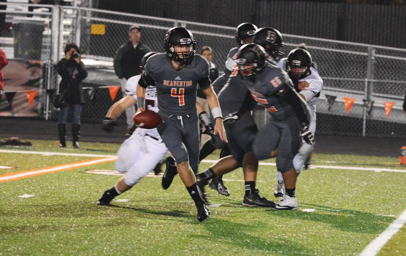 by: TIMES FILE PHOTO - Beaverton quarterback Sam Noyer hit Stephen Marcille for the game-winning two-point conversion against Sprague to send the Beavers to the second round of the 6A playoffs.