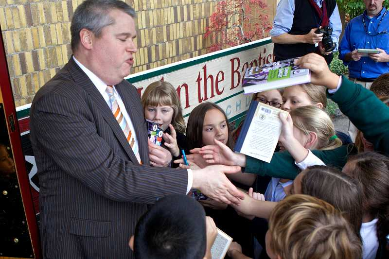 by: TIMES PHOTO:JAIME VALDEZ - Instead of signing autographs from Oregon Episcopal School students, Daniel Handler, who writes as Lemony Snicket, said, 'Thanks for leaving.'