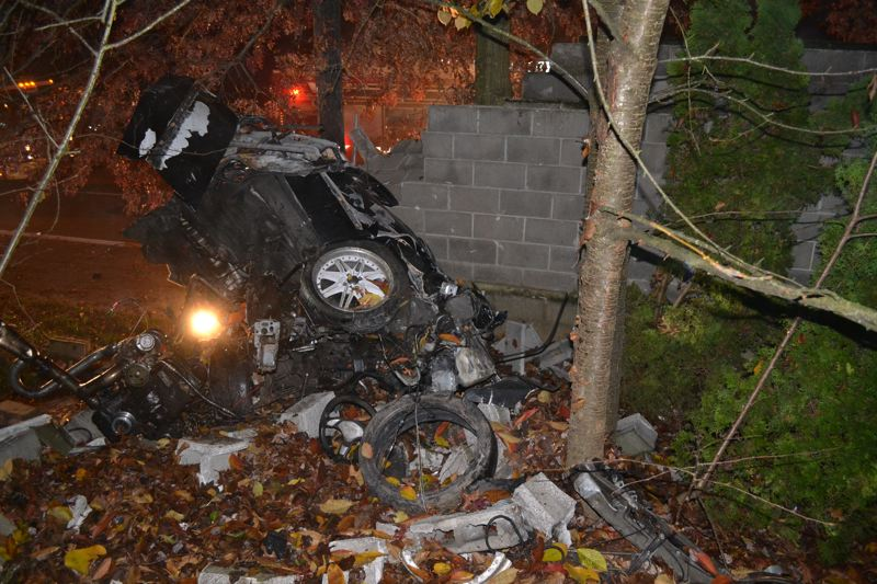by: WASHINGTON COUNTY SHERIFF'S OFFICE - A Honda driven by Nicholas Walrath crashed through a cinder block wall in the early morning hours of Thursday near the intersection of Southwest 185th Avenue and Pheasant Lane. Walrath was found deceased at the scene.