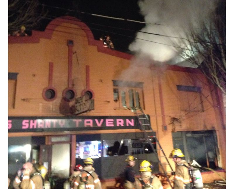 by: PORTLAND FIRE & RESCUE - Firefighters battle early Friday blaze at Pal's Shanty.