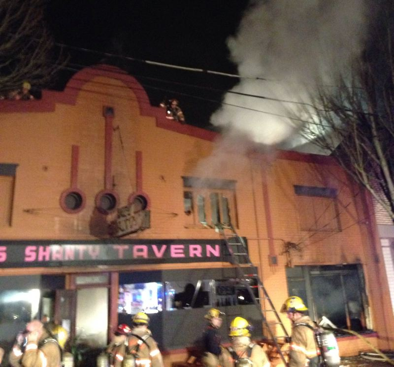 by: PORTLAND FIRE AND RESCUE - Fire crews have been battling a blaze at Pal's Shanty shortly before 2 a.m. Friday morning.