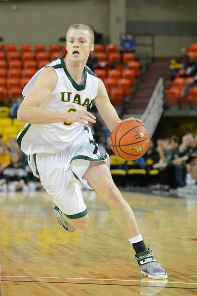 by: UAA ATHLETICS / COURTESY - Wilsonville alumnus Mike MacKelvie had a double-double for the Regis men's basketball team, which faced Alaska-Anchorage on the road Nov. 15. MacKelvie played for UAA last year.
