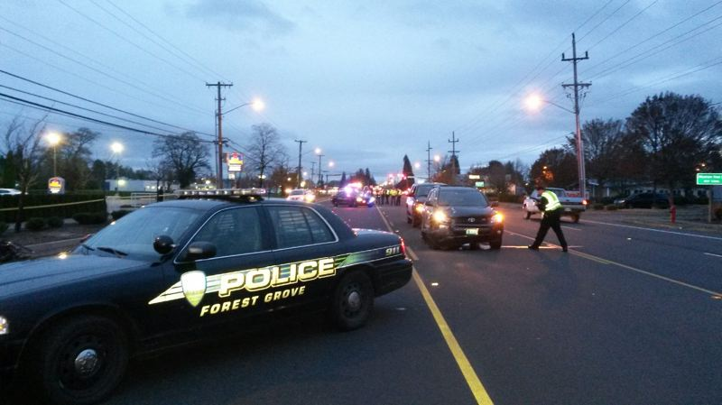 by: COURTESY OF FOREST GROVE POLICE - Part of Forest Grove's Pacific Avenue was blocked Monday morning during an investigation into a collision that killed a man in a wheelchair.