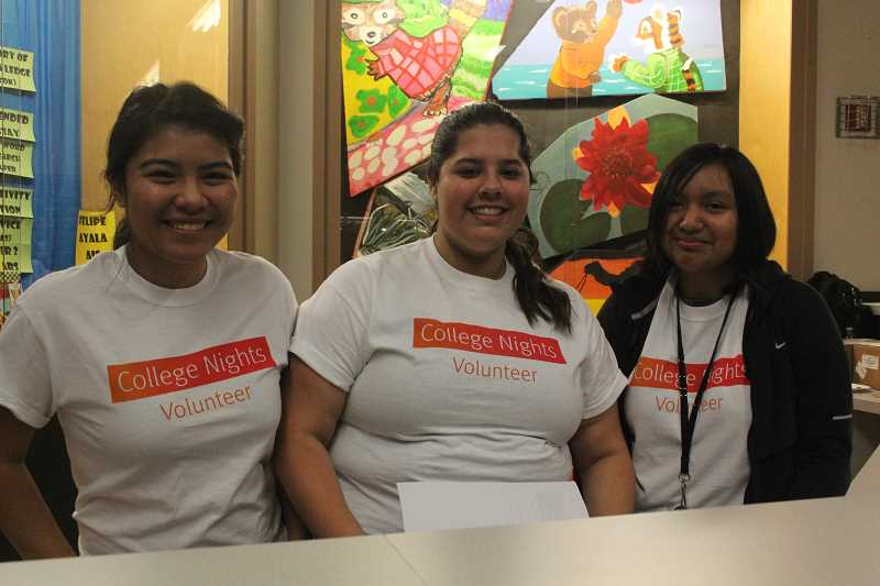 by: LINDSAY KEEFER - Volunteers at College Night on Thursday included juniors (from left) Jazmin Guatemala, Ahlyna Bello and Julizza Ramirez.