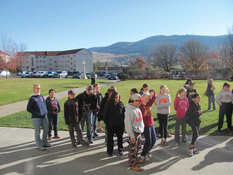 by: SUBMITTED PHOTO - Culver students walk around the campus on a college visitation at Eastern Oregon University in LaGrande.