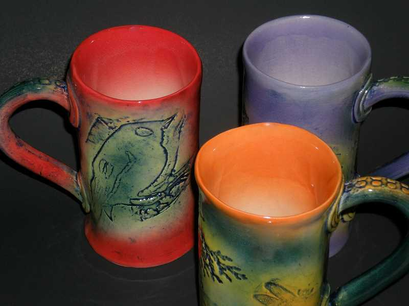 Dorothy Steele ceramic mugs make fine gifts.