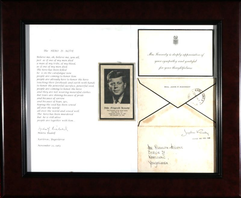 by: OUTLOOK PHOTO: JIM CLARK - Miletich received a condolence card from the White House in February 1964, after his poem was sent to First Lady Jacqueline Kennedy.