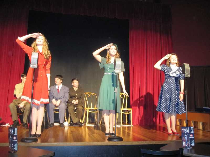 by: SUBMITTED PHOTO - From left, Madeleine Delaplane, Jessica Skinner and Celeste Spangler in Young Professionals production of A World War II Radio Christmas: 1943 Edition.
