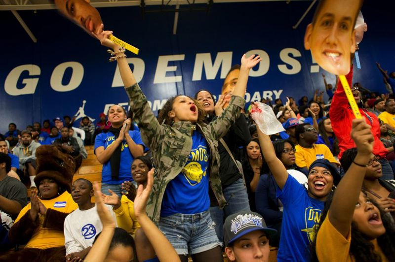 by: TRIBUNE FILE PHOTO: CHRISTOPHER ONSTOTT - Jefferson Democrats fans go wild in support of their state championship team at a PIL boys basketball game last season.