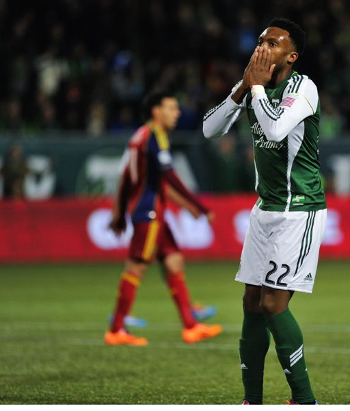 Rodney Wallace reacts when a Portland goal in the early going is disallowed.