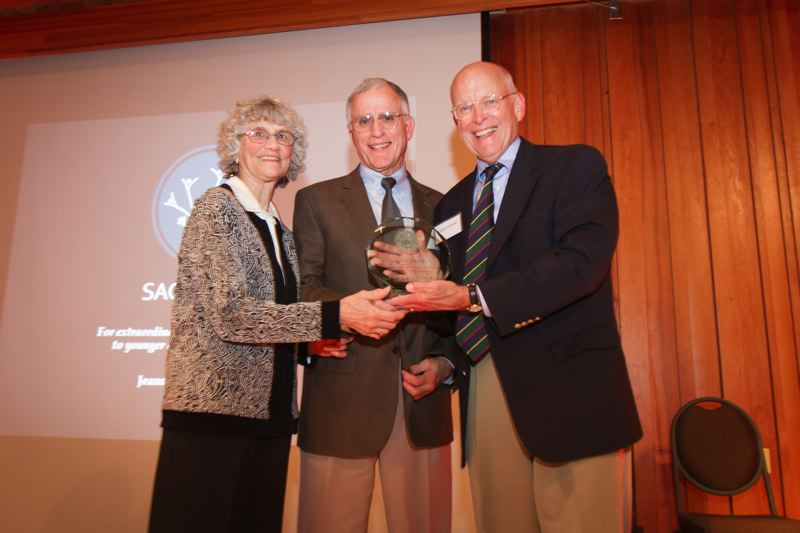 by: COURTESY OF SAGE - SAGE President Ward Greene (right) presents inaugural award to Jeanne and Dick Roy, the Portland area's leading environmental 'power couple.'