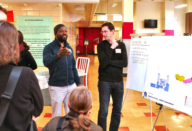 by: DAVID F. ASHTON - Franklin High School Renovation Project Design Workshop participant Gordon Buffonge says he wants the remodeled buildings to look like a campus, not a shopping center.