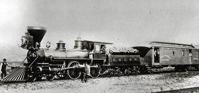 by: COURTESY OF WELLS FARGO ARCHIVES - Trains like this once ran through Inner Southeast Portland! In 1869, the Eastside Oregon Central Railway Company was renamed the Oregon and California Railroad Company by owner Ben Holladay. Eventually the O&C R.R. became part of the Southern Pacific Railroad, and today the Union Pacific.