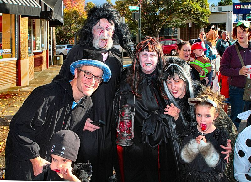 by: DAVID F. ASHTON - These smiling ghouls are, from left, Emmett Bregoli, Matt Bregoli, Paul Jordan, Kathleen Jordan, Allison Bregoli, and Mason Bregoli.