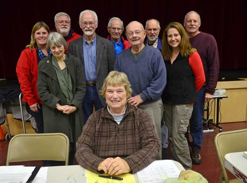 by: VERN UYETAKE - Longtime volunteer Sally Quimby, front, is stepping down from the Stafford Hamlet board.