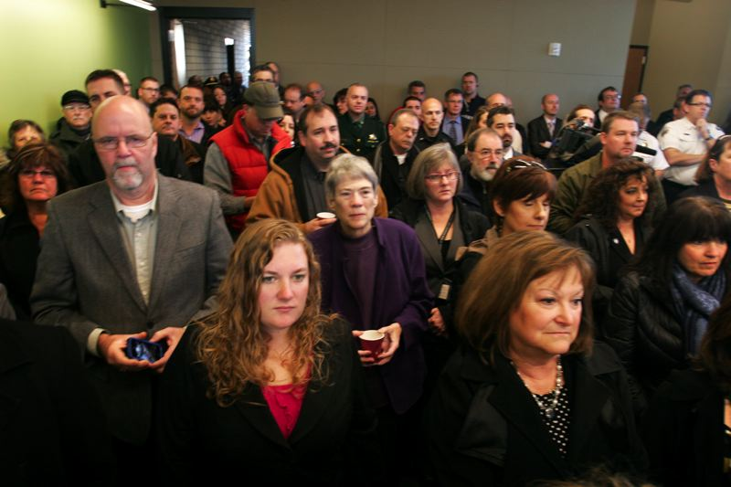 by: OUTLOOK PHOTO: JIM CLARK - The turnout at the dedication of the new Rockwood Public Safety Facility on Thursday was standing room only.
