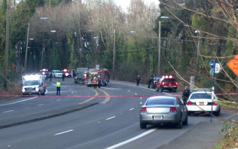 by: KOIN NEWS 6 - Fatal collision between van and Portland Water Bureau truck closed SW Barbur Monday.