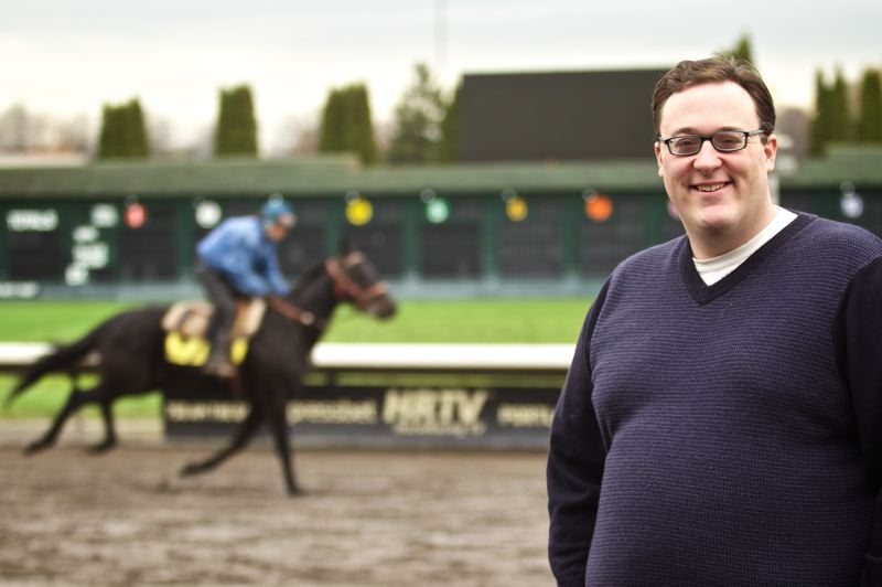 by: TRIBUNE PHOTO: JAMIE VALDEZ - Jason Beem grew up around horses and betting on them at age five. Now he calls the races at Portland Meadows, matching the speed of the horses with the speed of his words.