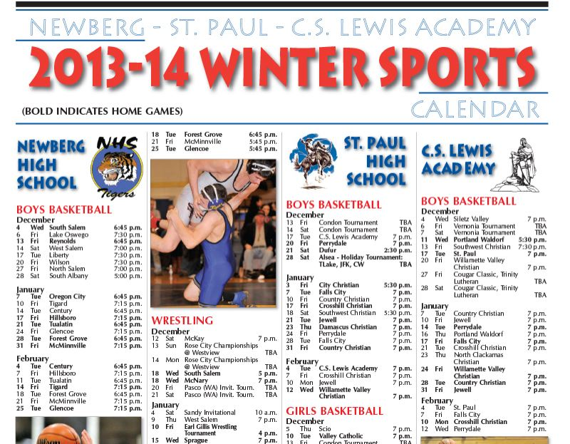 by: THE NEWBERG GRAPHIC - Winter Sports Calendar 2013-14