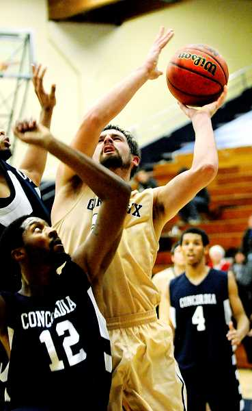 by: SETH GORDON - Herculean effort - Senior forward Sean Atkins propelled the Bruins, finishing with 36 points in George Fox's 108-99 loss to Concordia-Portland on Saturday at home.