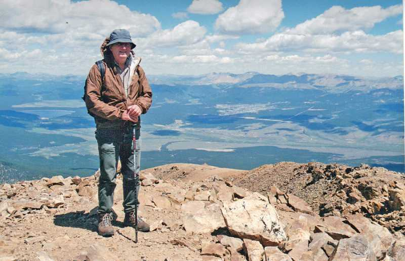 by: COURTESY OF PAUL HAILEY - THE SKY'S THE LIMIT - Paul Hailey, an avid hiker, stand on Mount Elbert, the tallest mountain in Colorado at 14,433 feet, on Aug. 17, 2010.