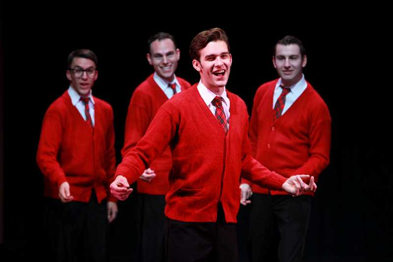 by: CRAIG MITCHELLDYER/FOR BROADWAY ROSE THEATRE COMPANY - ALL PLAID ALL THE TIME- The Plaids, including Jinx (Robert Head, front), with (from left) Smudge (Sean Powell), Frankie (Jeremy Sloan) and Sparky (Matthew Brown), return from the dead to bring a little holiday harmony to a discordant world.