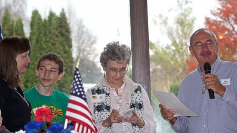 by: JEAN LEIDINGER/FOR THE REGAL COURIER - HONORING A VETERAN - Participating in a presentation in memory of Frank Loberger who died in 2013 are (from left) his daughter Yvonne Rees, his grandson David Caputo and his wife Rita along with presenter Ken Schroeder (Navy).