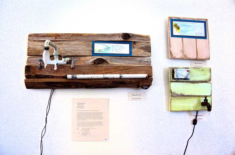 by: ESTACADA NEWS PHOTO: ISABEL GAUTSCHI - Caren Jones found a way to incorporate light and electricity in her mixed-media pieces.