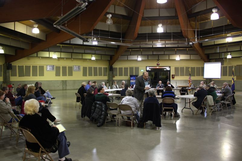 by: SPOTLIGHT PHOTO: ROBIN JOHNSON - Columbia County officials met Monday night at the Columbia County Fairgrounds 4-H pavilion to discuss the future of the county's jail. The jail's budget is expected to be $600,000 short for the next fiscal year.