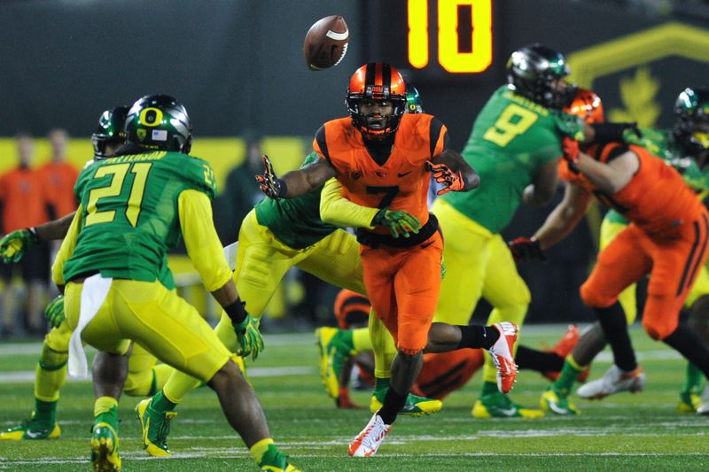 by: COURTESY OF JOHN LARIVIERE - Oregon State receiver Brandin Cooks draw a pass-interference penalty by Oregon's Terrance Mitchell.