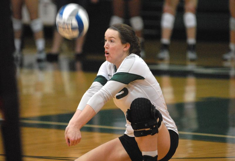 by: PAMPLIN MEDIA GROUP: DAVID BALL - Portland State's Jaklyn Wheeler gets in position for a dig during the Vikings' three-set loss to Idaho State on Saturday night.