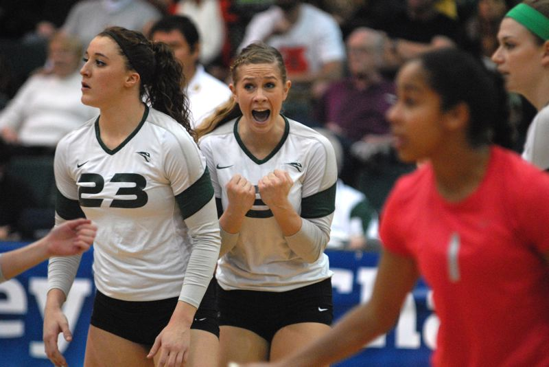 by: PAMPLIN MEDIA GROUP: DAVID BALL - Portland State's Aubrey Mitchell tries to get her team fired up during the opening set of Saturday's Big Sky final.