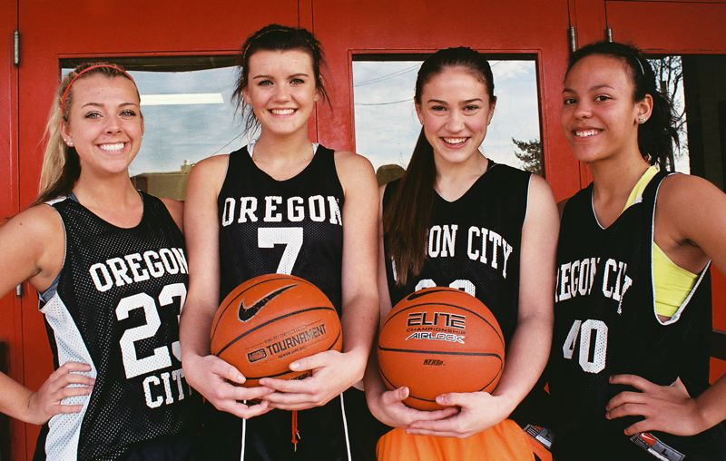 by: JOHN DENNY - Returning players (from left) Alyssa Durr, Jessica Gertz, Cierra Walker and Toria Bradford say they believe Oregon City High Schools girls basketball team will be highly successful this winter, despite inexperience and a lack of size.