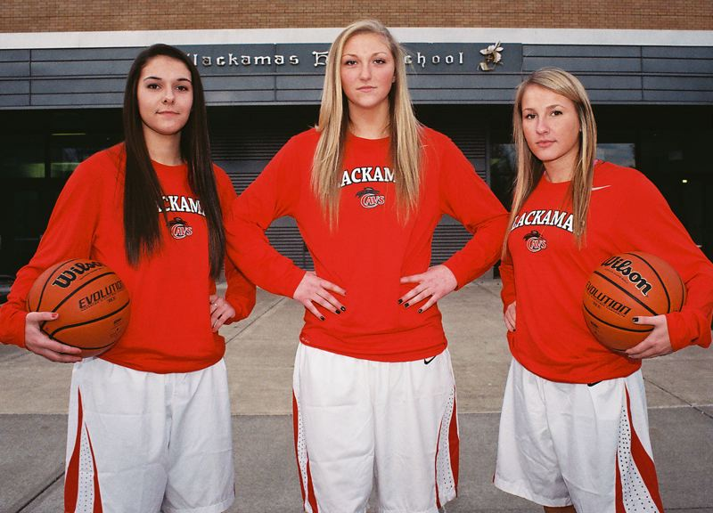 by: JOHN DENNY - Clackamas veterans (from left) Sydney Azorr, Erica Pagano and Kaitlyn Reiner believe the Cavaliers have the horses to unseat Three Rivers League champion Oregon City this season.