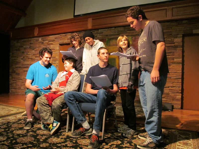 by: PHOTO BY ELLEN SPITALERI - Students at HeartLife Home School Co-op rehearse a scene from their upcoming Holiday Revue. Seated, left to right are: Michael Crozier, Alexander Bates and Ezra Kamerman. Standing, left to right are: Trinity Edwards, Griffin Guy, Ben Wheelhouse and Kris Hess.