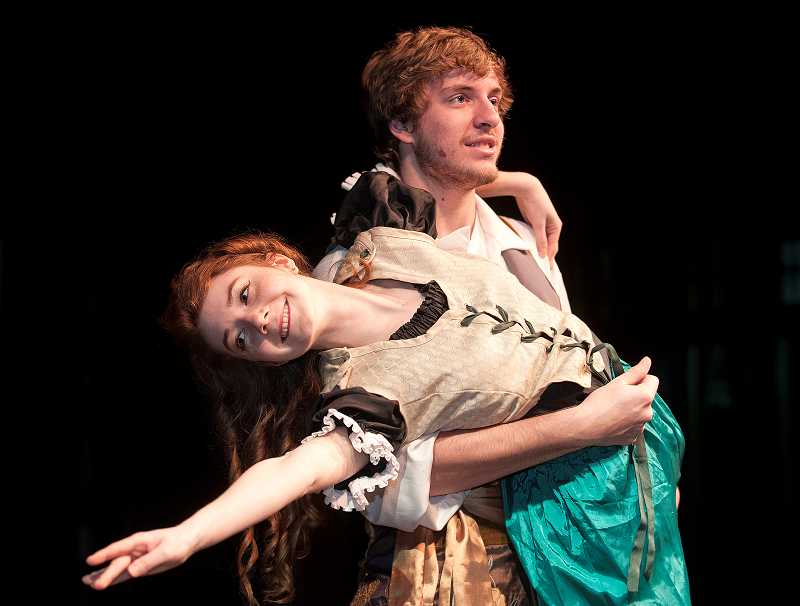by: SPOKESMAN PHOTO: JOSH KULLA - Oberon (Levi Rule) and Puck (Hayley Rouselle) play two of the fairies who mingle with mortals in A Midsummer Nights Dream.