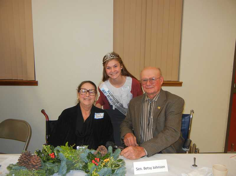 Washington County Dairy Princess-Ambassador Elizabeth Thomas attended the Washington County Farm Bureaus annual meeting with state Sen. Betsy Johnson and WCFB President Edmund Duyck, who were both in wheelchairs, recovering from bones they broke during serious accidents this fall.