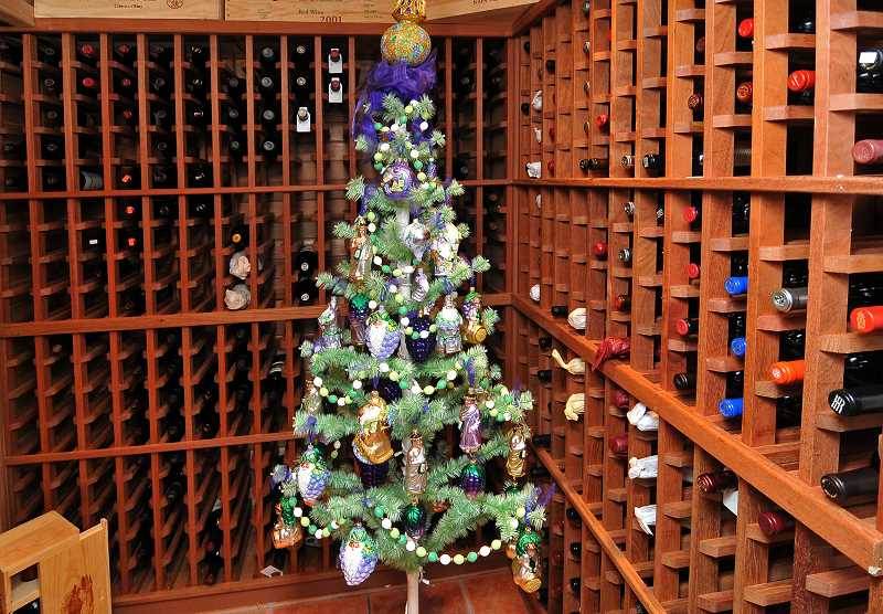 Not many homes contain a wine cellar, and Stallings may be the only wine cellar to have its own Christmas tree.