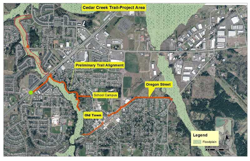 by: CITY OF SHERWOOD - Here's how the trail would wind through Sherwood with initially construction beginning off of Oregon Street