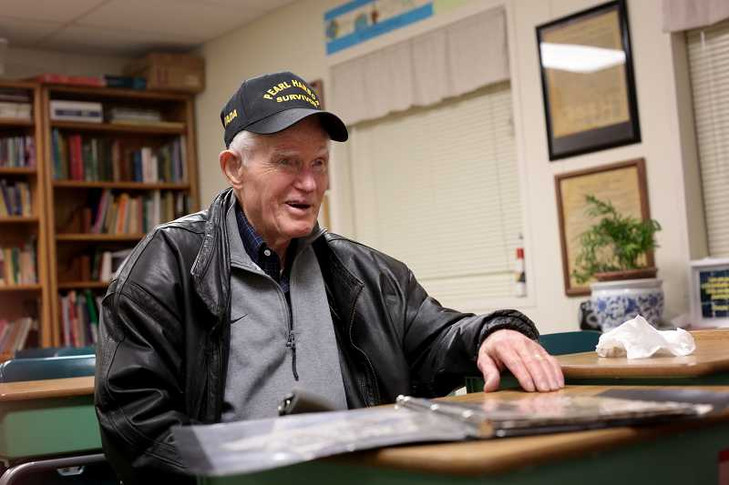 by: TIMES PHOTO: JONATHAN HOUSE - Pearl Harbor veteran, retired Chief Petty Officer Bob Westerberg, U.S. Navy, talks about his experience on that fateful day.