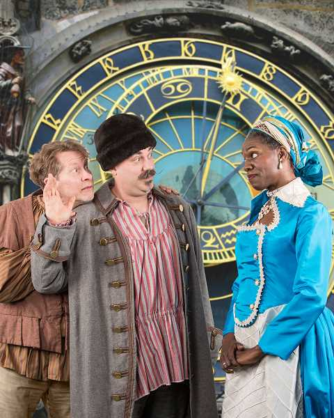 by: SUBMITTED PHOTO: DAVID KINDER - Ithica Tell as the Empress, with Eric Stern as the Mayor and Burl Ross as Hodiny, the clock engineer.