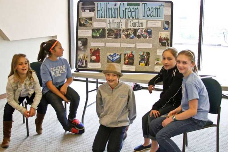by: SUBMITTED PHOTO - Hallinan students, from left, Anna Seely, Summer Mickey, Campbell Brown, Lauren Bailey and Sara Shallenberger were Green Team representatives at an event in November.