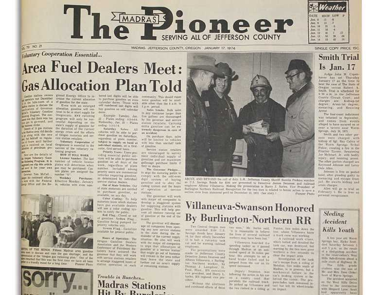 by: MADRAS PIONEER ARCHIVES - On Jan. 14. 1974, Alfonso Villanueva and Detective James Swanson were awarded for their heroic action.
