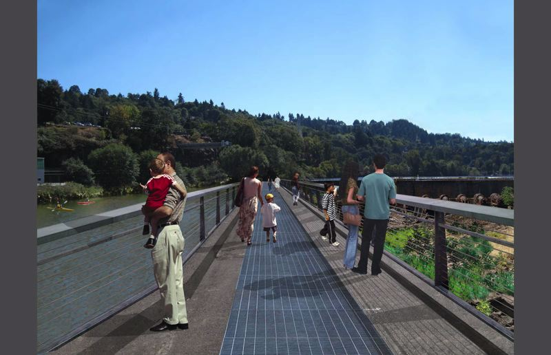 by: RENDERING COURTESY: CITY OF OC - Planners receive community support for public walkways that cross parts of the former Blue Heron paper-mill site to view Willamette Falls.